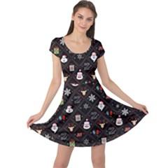 Dark Xmas Grid Cap Sleeve Dress by CoolDesigns