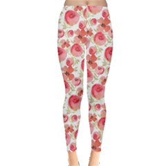 Red Floral Leggings