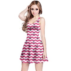 Hot Pink Sailor Tile Pattern With Anchor On Sleeveless Skater Dress by CoolDesigns