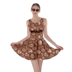 Brown Yummy Colorful Sweet Lollipop Candy Macaroon Cupcake Donut Seamless Skater Dress