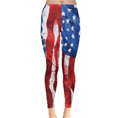 Watercolor Design American Flag Leggings  by CoolDesigns