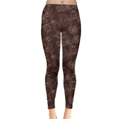 Brown Pattern Of Big Eyed Owls Family On Tree At Night Women s Leggings