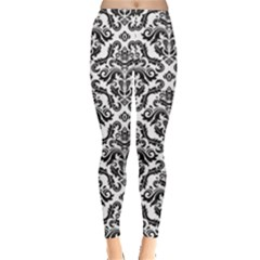 Black Oriental Fine Pattern With Damask Arabesque And Floral Women s Leggings by CoolDesigns