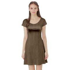 Brown Abstract Flat Wooden Texture Wooden Pattern Short Sleeve Skater Dress