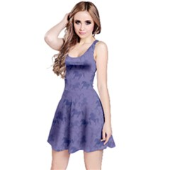 Blue Pattern Of Racing Blue Horses Sleeveless Skater Dress