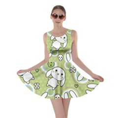 Green Pattern with Doodle Kawaii Skater Dress by CoolDesigns