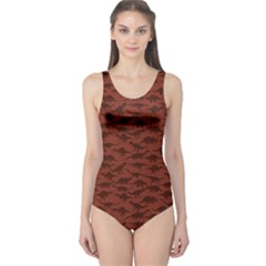 Dark A Pattern With Dinosaur Silhouettes Women s One Piece Swimsuit by CoolDesigns