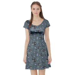 Blue Hedgehogs In The Night Forest Pattern Short Sleeve Skater Dress by CoolDesigns