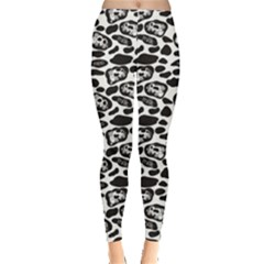 Black Pattern With Cartoon Cows Black And White Leggings by CoolDesigns