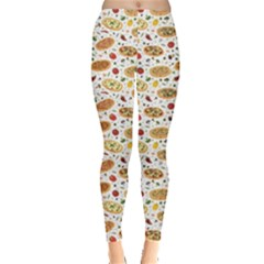 Colorful Pattern With Different Pizza And Spices Leggings by CoolDesigns