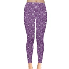 Purple Day Of The Dead Sugar Skull Leggings by CoolDesigns