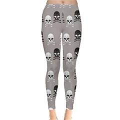 Gray Pattern Skulls Leggings
