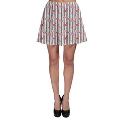 Pink Flamingo Bird Retro Pattern In Skater Skirt