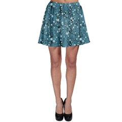 Blue Water Pattern Tree Cherry Blossom Sakura Nature Skater Skirt by CoolDesigns