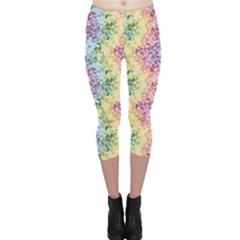Colorful Pastel Rainbow Petals Capri Leggings by CoolDesigns