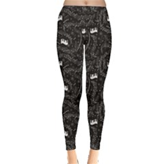Black Beautiful Musical Pattern With Notes And Piano Keyboard Women s Leggings by CoolDesigns