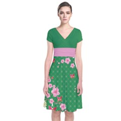 Green Blossom Japanese Style Cherry Blossom Short Sleeve Front Wrap Dress by CoolDesigns