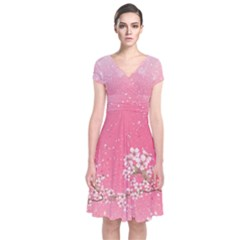 Blossom Pinky Japanese Style Cherry Blossom Short Sleeve Front Wrap Dress by CoolDesigns