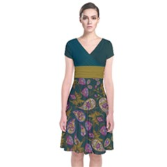 Dark  Green Paisley Short Sleeve Front Wrap Dress by CoolDesigns