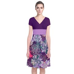 Purple Floral 2 Short Sleeve Front Wrap Dress