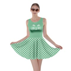 Green Cat Dot Skater Dress