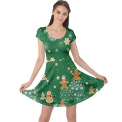 Green Stars Cap Sleeve Dress by CoolDesigns