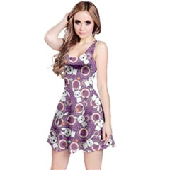 Purple Pattern Doddle Kawaii Sleeveless Skater Dress by CoolDesigns