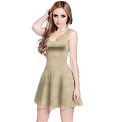 Beige Halloween Spider Web Pattern Skater Dress