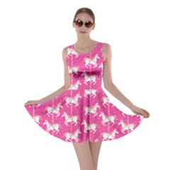 Hot Pink Carousel Horses Pattern Skater Dress  by CoolDesigns