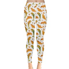 Orange Watercolor Dolphins Pattern Leggings