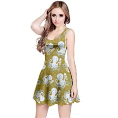Olive Octopus Short Sleeve Skater Dress