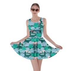 Flamingo Leaves 2 Skater Dress by CoolDesigns