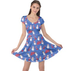 Blue Snowman Cap Sleeve Dress