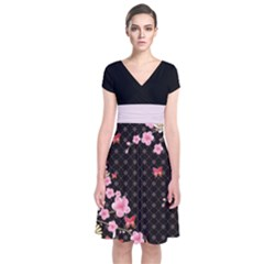 Dark Blossom Japanese Style Cherry Blossom Short Sleeve Front Wrap Dress by CoolDesigns