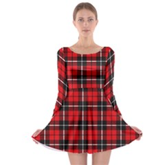 Xmas Check 2 Long Sleeve Skater Dress by CoolDesigns