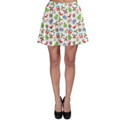 Colorful Christmas Pattern Skater Skirt by CoolDesigns