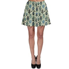 Green Robots Color Pattern Skater Skirt by CoolDesigns