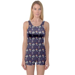 Blue Indian Floral Pattern On Blue Women s One Piece Swimsuit by CoolDesigns