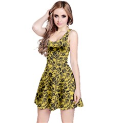 Yellow Skull Crossbones Pattern Sleeveless Skater Dress