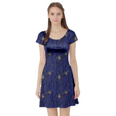 Blue Pattern Owls In The Night Forest Short Sleeve Skater Dress by CoolDesigns