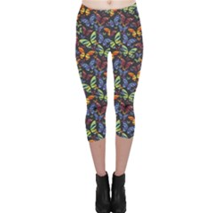 Colorful Pattern Butterflies Colored Capri Leggings