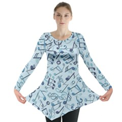 Blue Pattern With Music Notes Long Sleeve Tunic Top