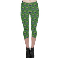 Green Peacock Feathers Capri Leggings