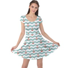 Blue Sailor Tile Pattern With Red Anchor On A White And Blue Cap Sleeve Dress by CoolDesigns