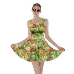 Green Vegetable Organic Food Mix With Cabbage Parsley Skater Dress by CoolDesigns