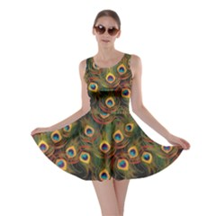 Green Pattern Peacock Feathers Skater Dress