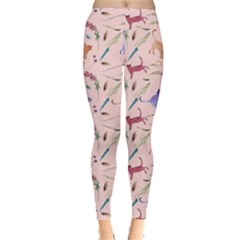 Pink Cat Floral Leggings  by CoolDesigns