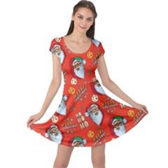 Orange Red Santa Cap Sleeve Dress by CoolDesigns