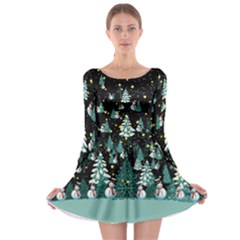 Dark Trees Long Sleeve Skater Dress by CoolDesigns