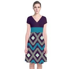 Dark Chevron Short Sleeve Front Wrap Dress by CoolDesigns